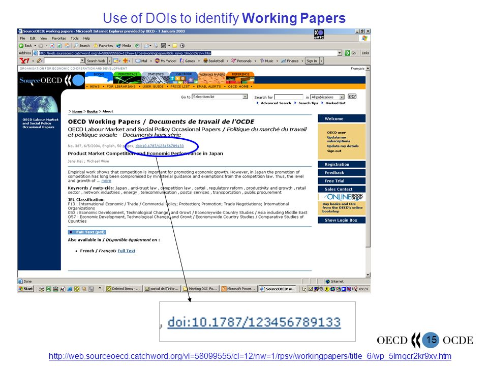 15 http://web.sourceoecd.catchword.org/vl=58099555/cl=12/nw=1/rpsv/workingpapers/title_6/wp_5lmqcr2kr9xv.htm Use of DOIs to identify Working Papers