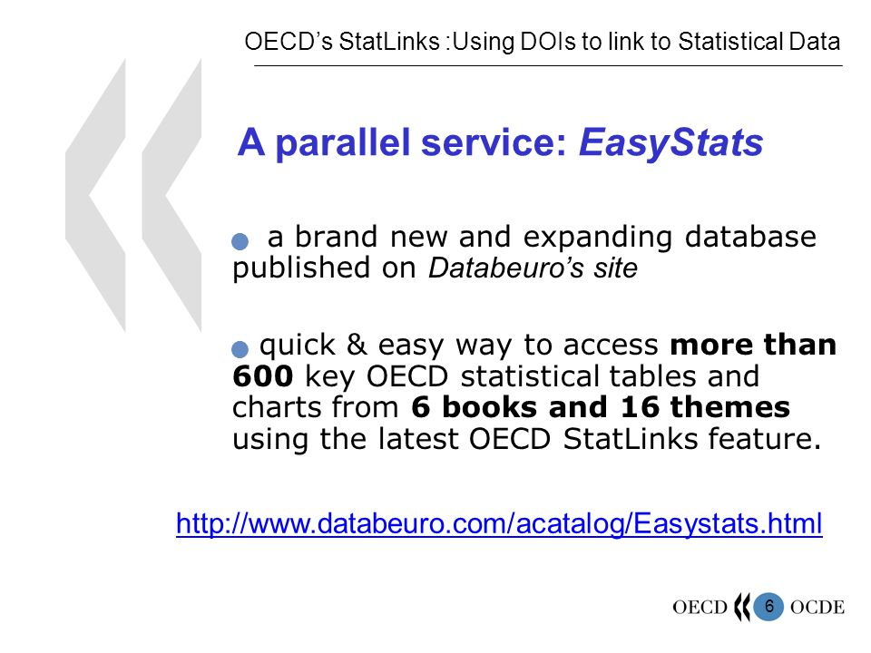 6 a brand new and expanding database published on Databeuros site quick & easy way to access more than 600 key OECD statistical tables and charts from