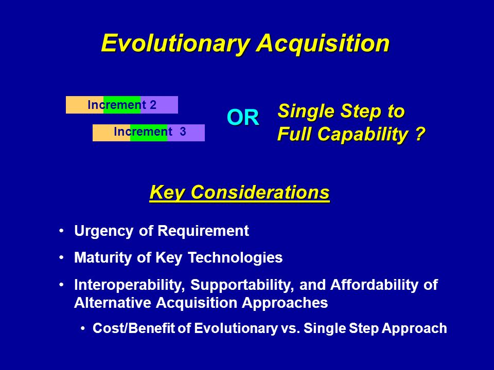 Increment 2 Increment 3 Evolutionary Acquisition Urgency of Requirement Maturity of Key Technologies Interoperability, Supportability, and Affordabili