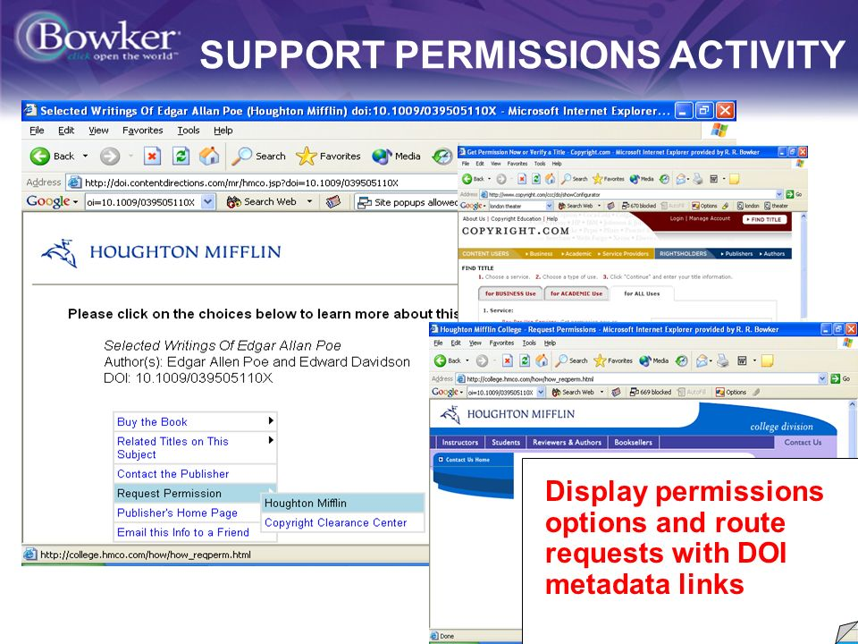 10 SUPPORT PERMISSIONS ACTIVITY Display permissions options and route requests with DOI metadata links
