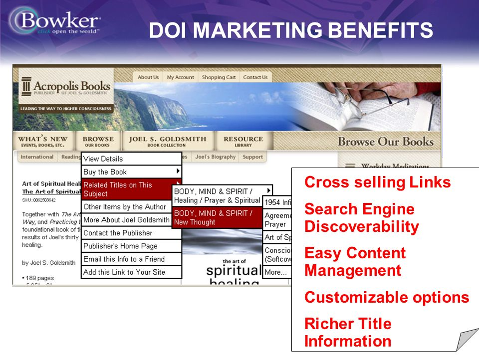 14 DOI MARKETING BENEFITS Cross selling Links Search Engine Discoverability Easy Content Management Customizable options Richer Title Information