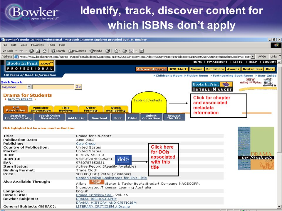 4 Identify, track, discover content for which ISBNs dont apply Table of Contents Click here for DOIs associated with this title Click for chapter and associated metadata information