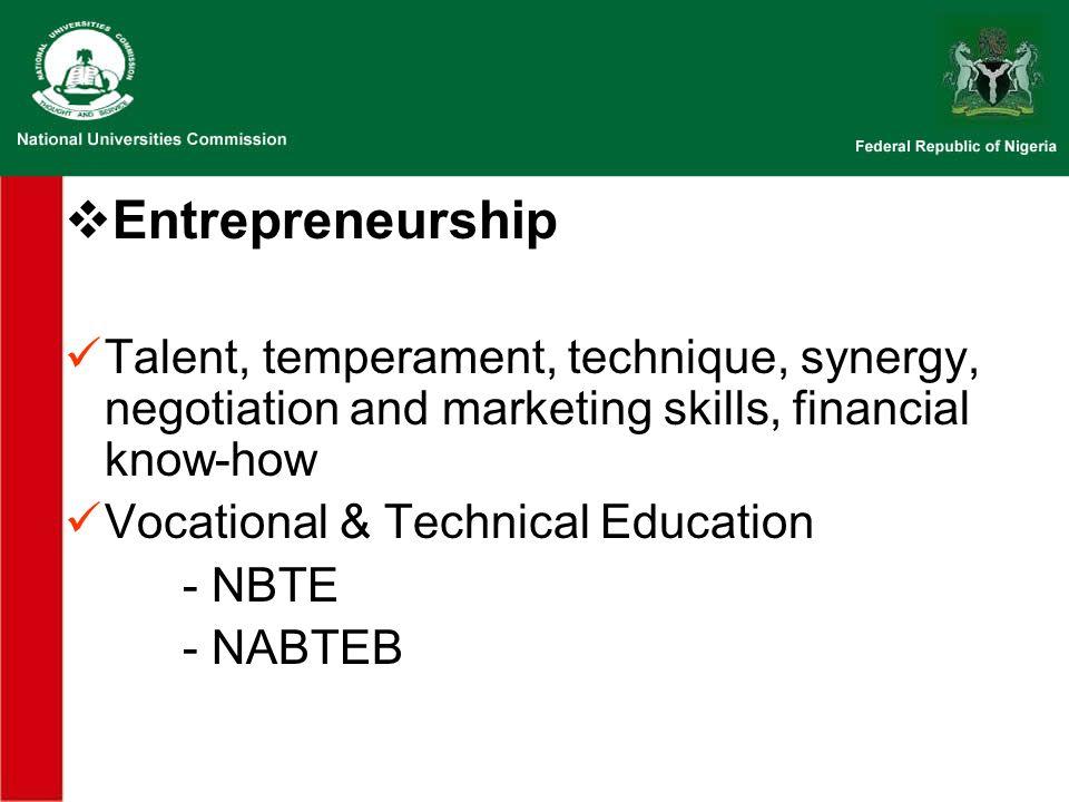 Entrepreneurship Talent, temperament, technique, synergy, negotiation and marketing skills, financial know-how Vocational & Technical Education - NBTE - NABTEB