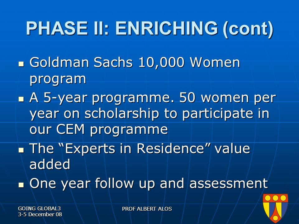 GOING GLOBAL3 3-5 December 08 PROF ALBERT ALOS GOING GLOBAL3 3-5 December 08 PROF ALBERT ALOS PHASE II: ENRICHING (cont) Goldman Sachs 10,000 Women program Goldman Sachs 10,000 Women program A 5-year programme.