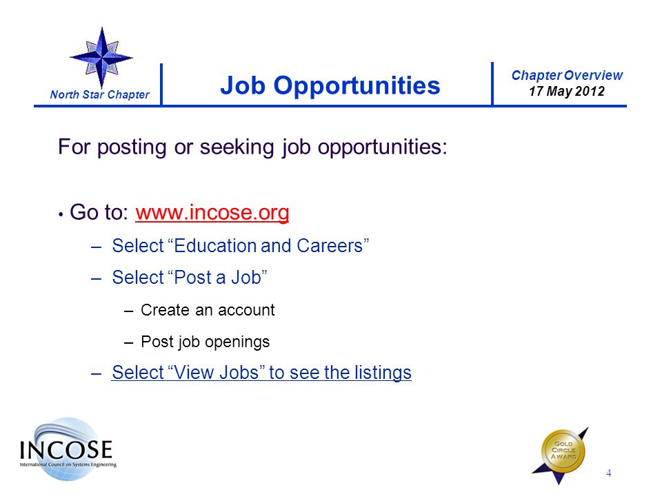 Chapter Overview 17 May 2012 North Star Chapter For posting or seeking job opportunities: Go to: www.incose.org –Select Education and Careers –Select