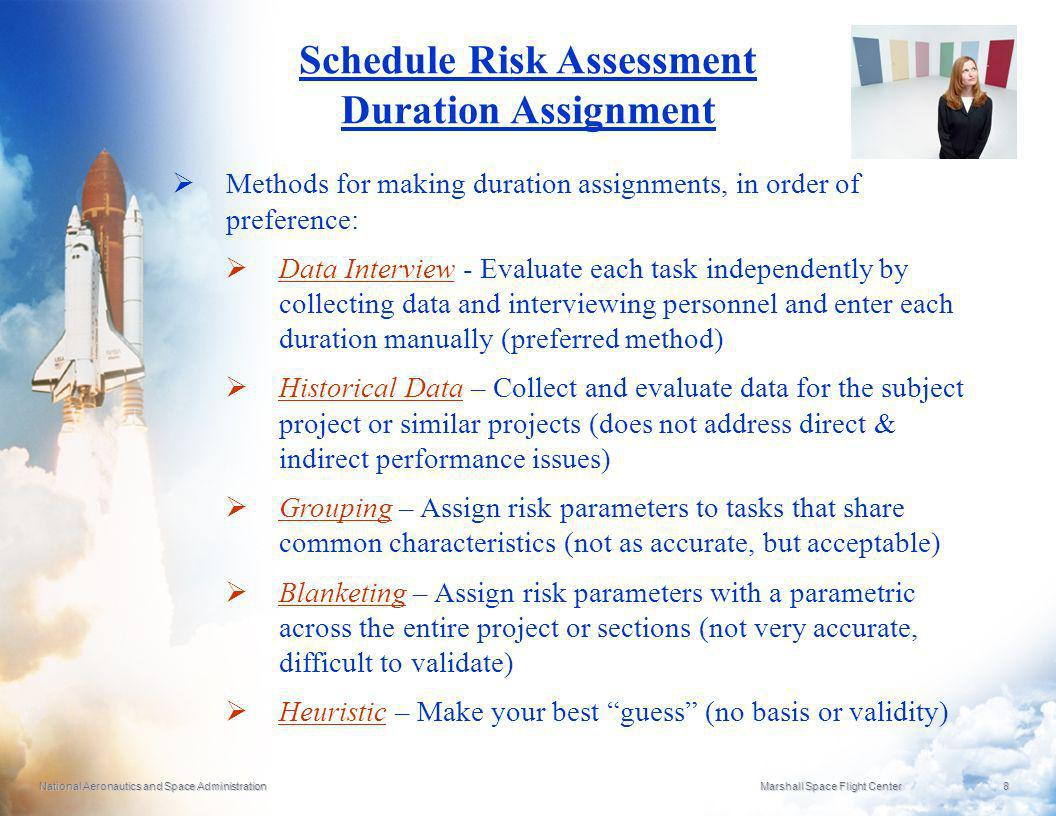 National Aeronautics and Space Administration Marshall Space Flight Center 8 Schedule Risk Assessment Duration Assignment Methods for making duration