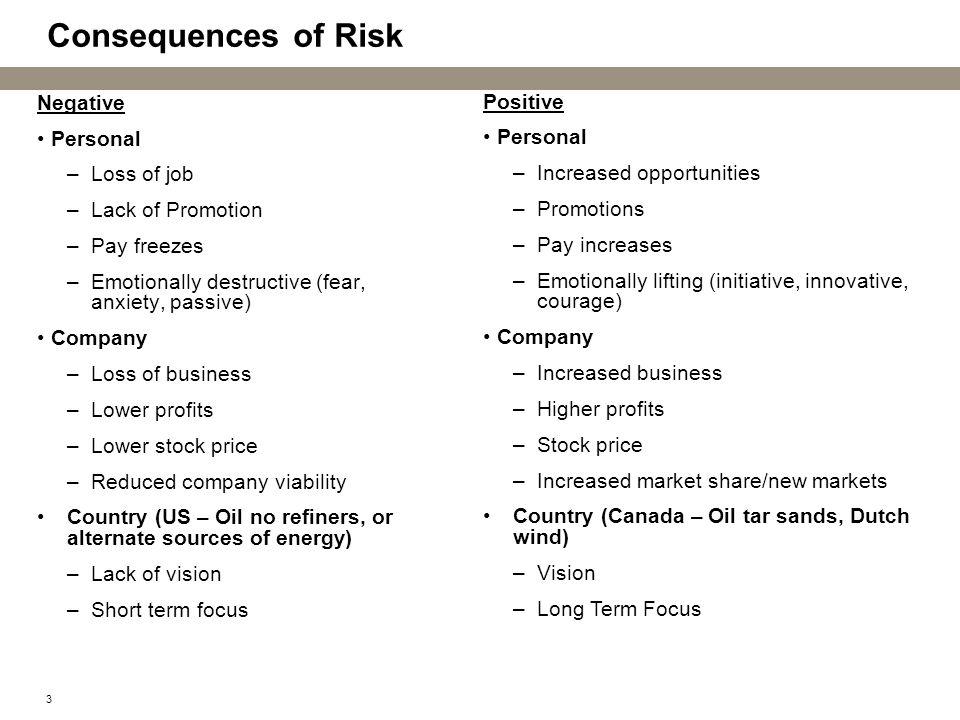 3 Consequences of Risk Negative Personal –Loss of job –Lack of Promotion –Pay freezes –Emotionally destructive (fear, anxiety, passive) Company –Loss