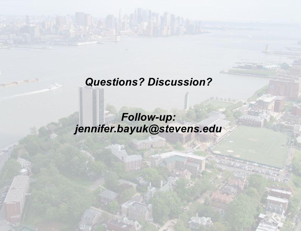 May 4, 2009 13 Questions? Discussion? Follow-up: jennifer.bayuk@stevens.edu