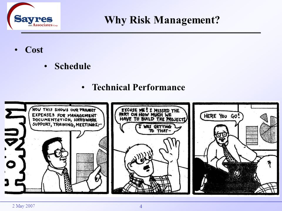 4 2 May 2007 Why Risk Management? Cost Schedule Technical Performance