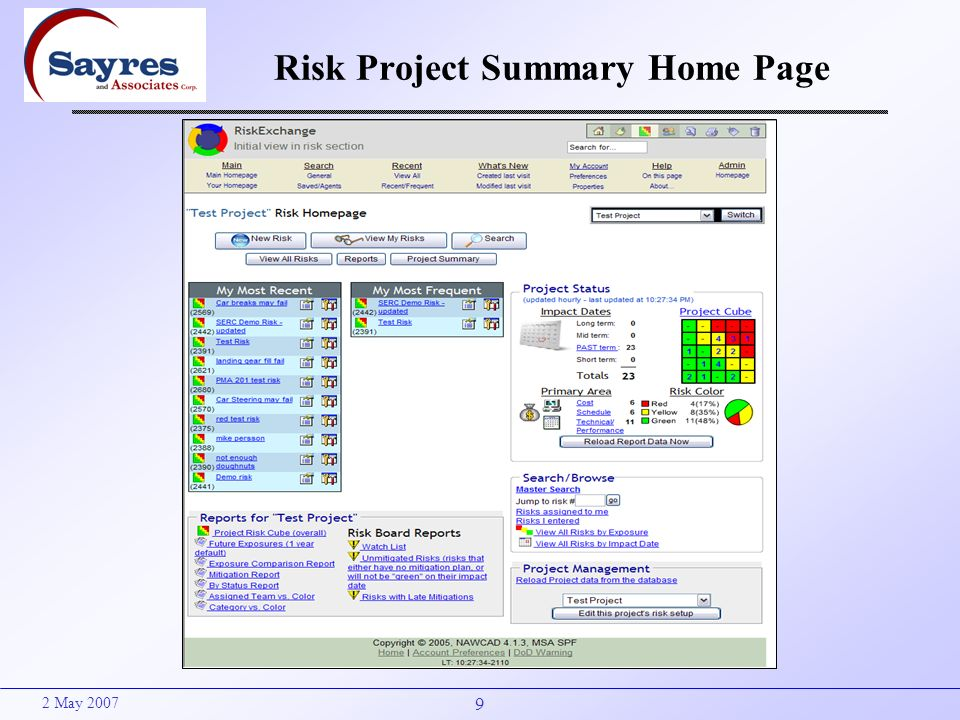 9 2 May 2007 Risk Project Summary Home Page
