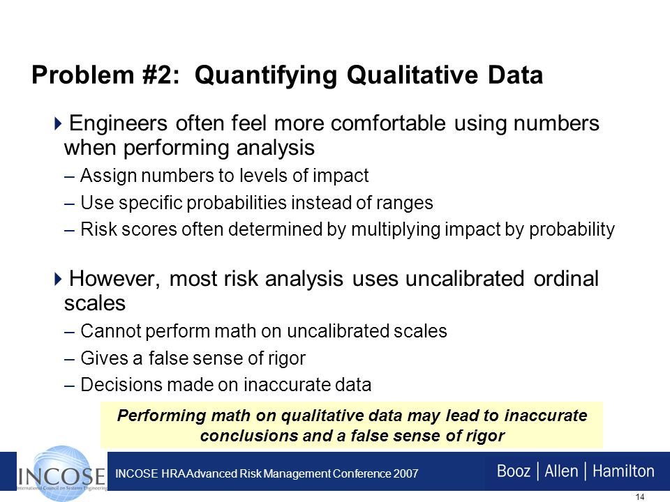 14 INCOSE HRA Advanced Risk Management Conference 2007 Problem #2: Quantifying Qualitative Data Engineers often feel more comfortable using numbers when performing analysis –Assign numbers to levels of impact –Use specific probabilities instead of ranges –Risk scores often determined by multiplying impact by probability However, most risk analysis uses uncalibrated ordinal scales –Cannot perform math on uncalibrated scales –Gives a false sense of rigor –Decisions made on inaccurate data Performing math on qualitative data may lead to inaccurate conclusions and a false sense of rigor