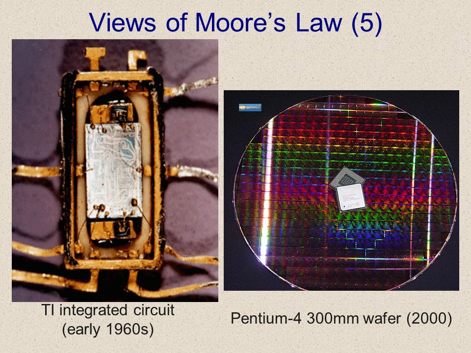 Views of Moores Law (5) TI integrated circuit (early 1960s) Pentium-4 300mm wafer (2000)