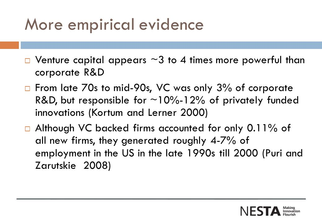 More empirical evidence Venture capital appears ~3 to 4 times more powerful than corporate R&D From late 70s to mid-90s, VC was only 3% of corporate R&D, but responsible for ~10%-12% of privately funded innovations (Kortum and Lerner 2000) Although VC backed firms accounted for only 0.11% of all new firms, they generated roughly 4-7% of employment in the US in the late 1990s till 2000 (Puri and Zarutskie 2008)