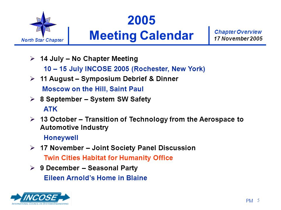 Chapter Overview 17 November 2005 North Star Chapter PM 5 14 July – No Chapter Meeting 10 – 15 July INCOSE 2005 (Rochester, New York) 11 August – Symposium Debrief & Dinner Moscow on the Hill, Saint Paul 8 September – System SW Safety ATK 13 October – Transition of Technology from the Aerospace to Automotive Industry Honeywell 17 November – Joint Society Panel Discussion Twin Cities Habitat for Humanity Office 9 December – Seasonal Party Eileen Arnolds Home in Blaine 2005 Meeting Calendar