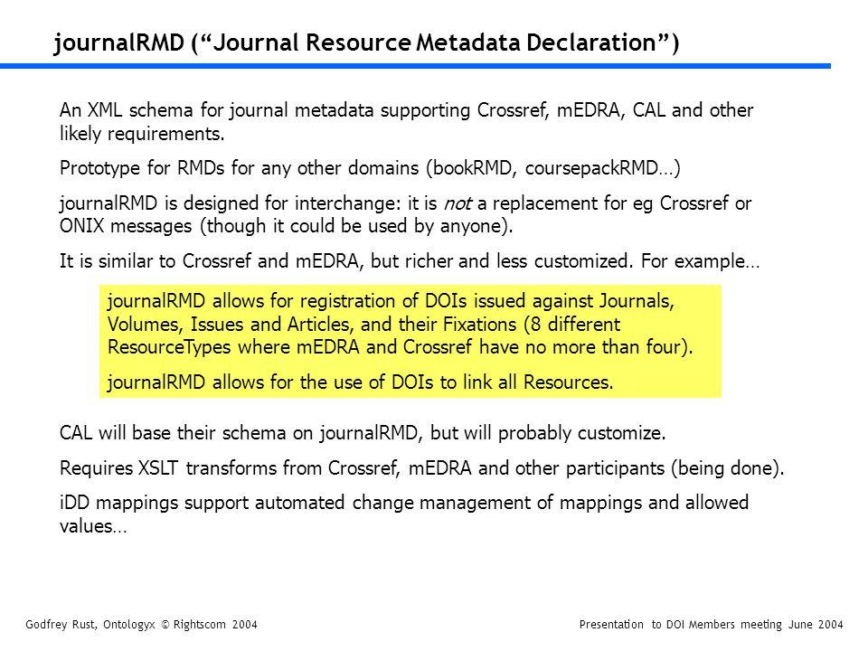 Godfrey Rust, Ontologyx © Rightscom 2004Presentation to DOI Members meeting June 2004 journalRMD (Journal Resource Metadata Declaration) An XML schema