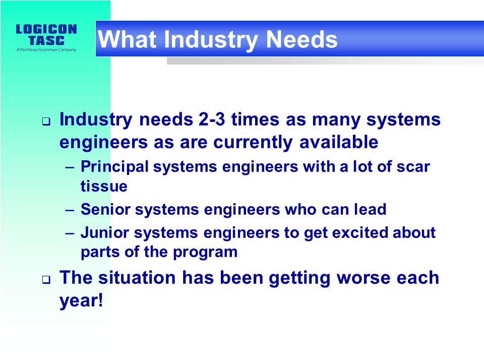 Standard/print. 6 What Industry Needs Industry needs 2-3 times as many systems engineers as are currently available –Principal systems engineers with