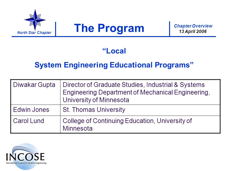 Chapter Overview 13 April 2006 North Star Chapter The Program Local System Engineering Educational Programs Diwakar GuptaDirector of Graduate Studies, Industrial & Systems Engineering Department of Mechanical Engineering, University of Minnesota Edwin JonesSt.