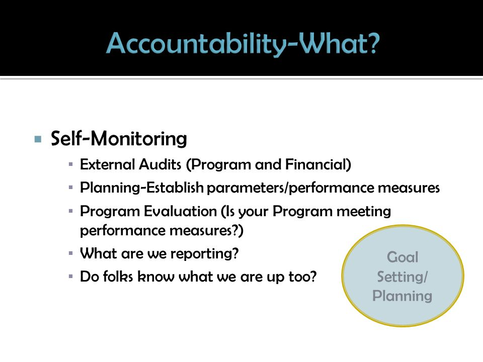 Self-Monitoring External Audits (Program and Financial) Planning-Establish parameters/performance measures Program Evaluation (Is your Program meeting performance measures?) What are we reporting.