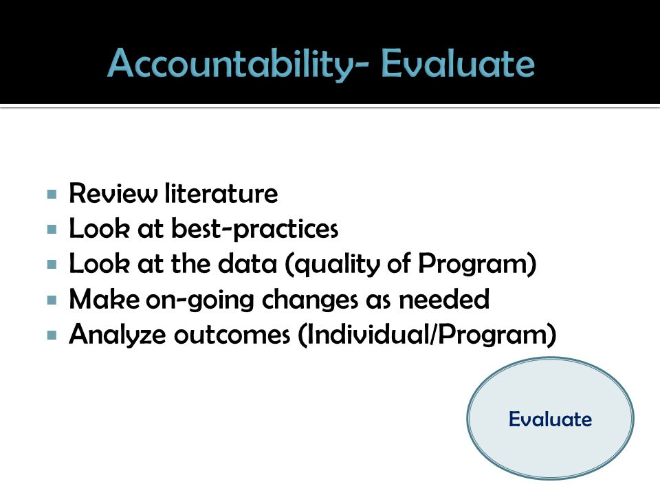 Review literature Look at best-practices Look at the data (quality of Program) Make on-going changes as needed Analyze outcomes (Individual/Program) Evaluate