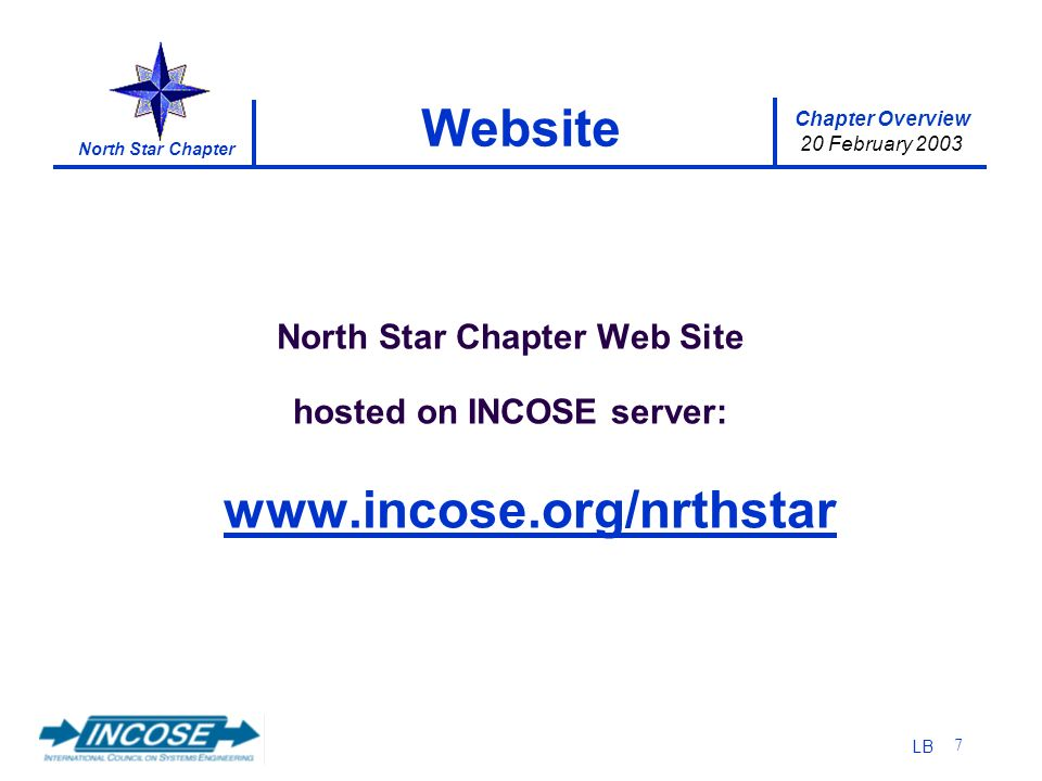 Chapter Overview 20 February 2003 North Star Chapter LB 7 Website North Star Chapter Web Site hosted on INCOSE server: