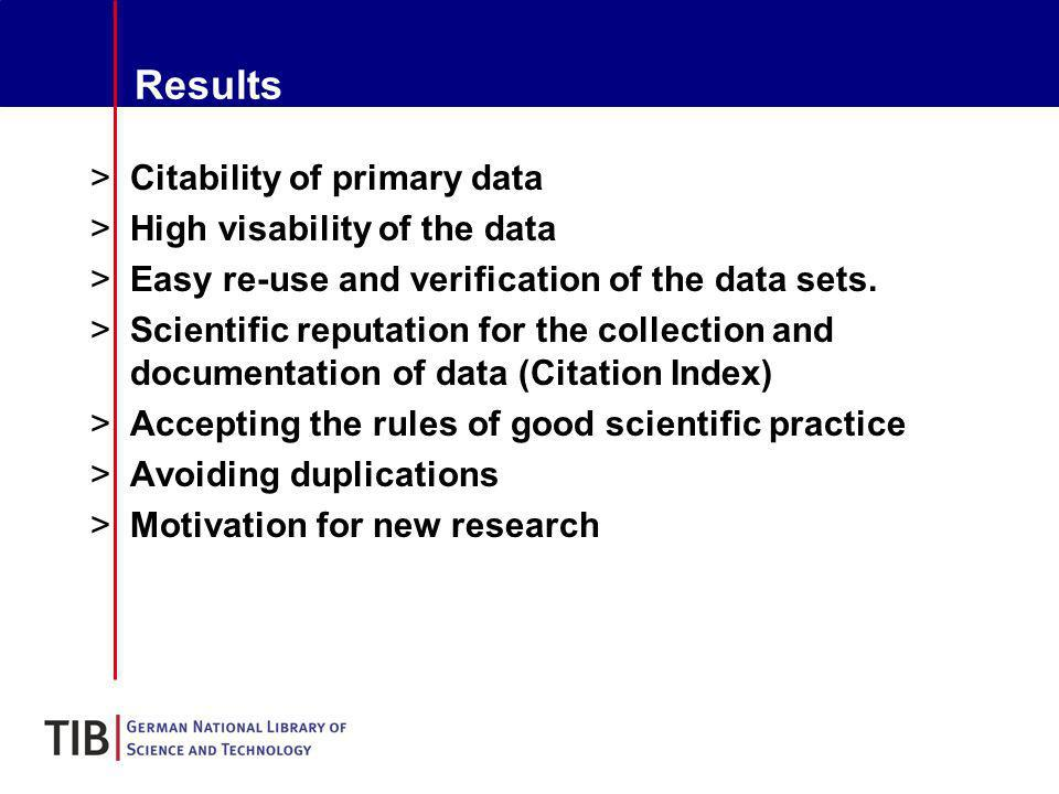 Results >Citability of primary data >High visability of the data >Easy re-use and verification of the data sets.