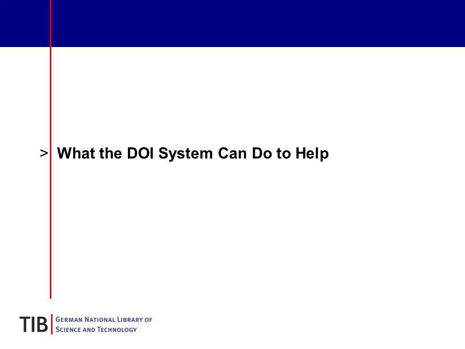 >What the DOI System Can Do to Help