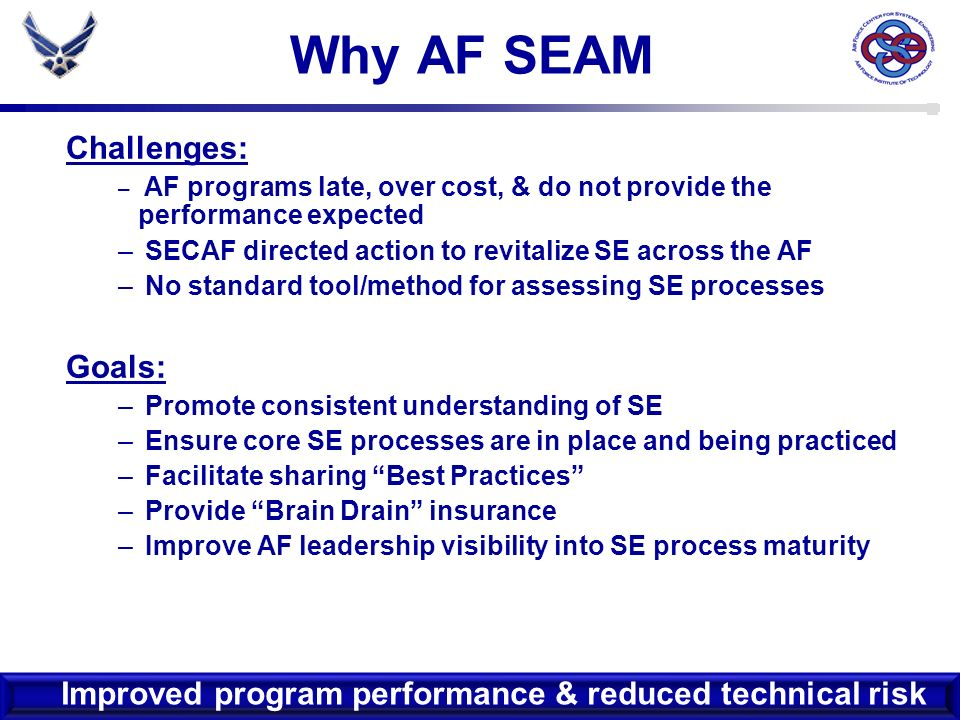 14 AF SEAM Content Process Areas (PAs) Goals Practices Informative Material –Description –Typical Work Products –Reference Material –Other Considerations Level of Specificit y Broadest Most Detailed