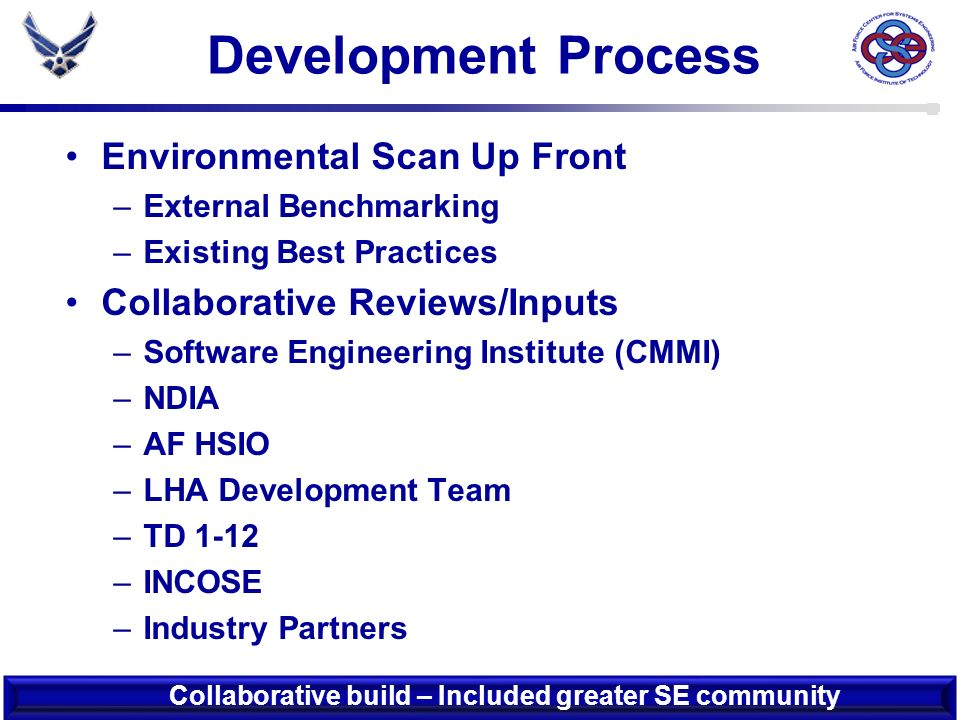 Development Schedule TASK J J A S O N D J F M A M J J A ID Process Areas (10) Define Process Area Goals (34) Defined Practices aligned to goals (120) Formative Material Includes: - Detail Practice Description - Practice Assessment Criteria - Reference Materials Develop Assessment & Scoring Methodology Develop & Implement Training Plan ID Baseline Test Candidates Perform Baseline Training & Assessments Incorporate Baseline Test Feedback & Revise AF SEAM Coordinate Final Version (Spiral 1) 28 DELIVERED ON TIME .