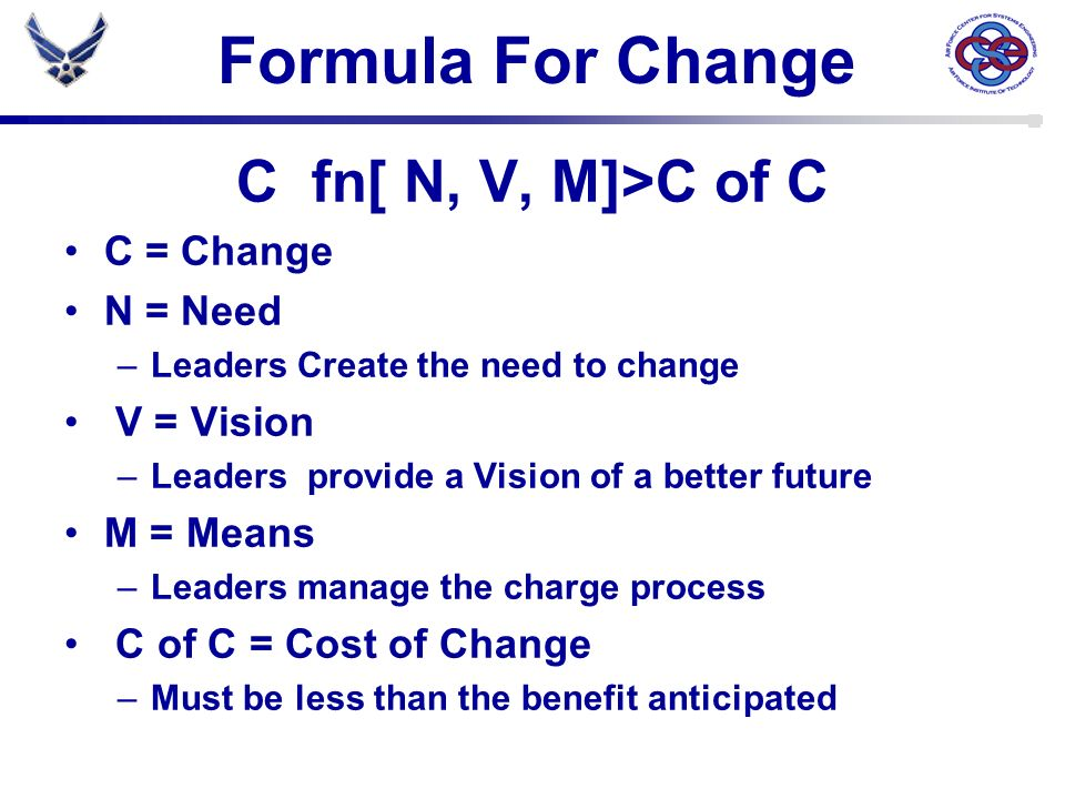 Formula For Change C fn[ N, V, M]>C of C C = Change N = Need –Leaders Create the need to change V = Vision –Leaders provide a Vision of a better futur