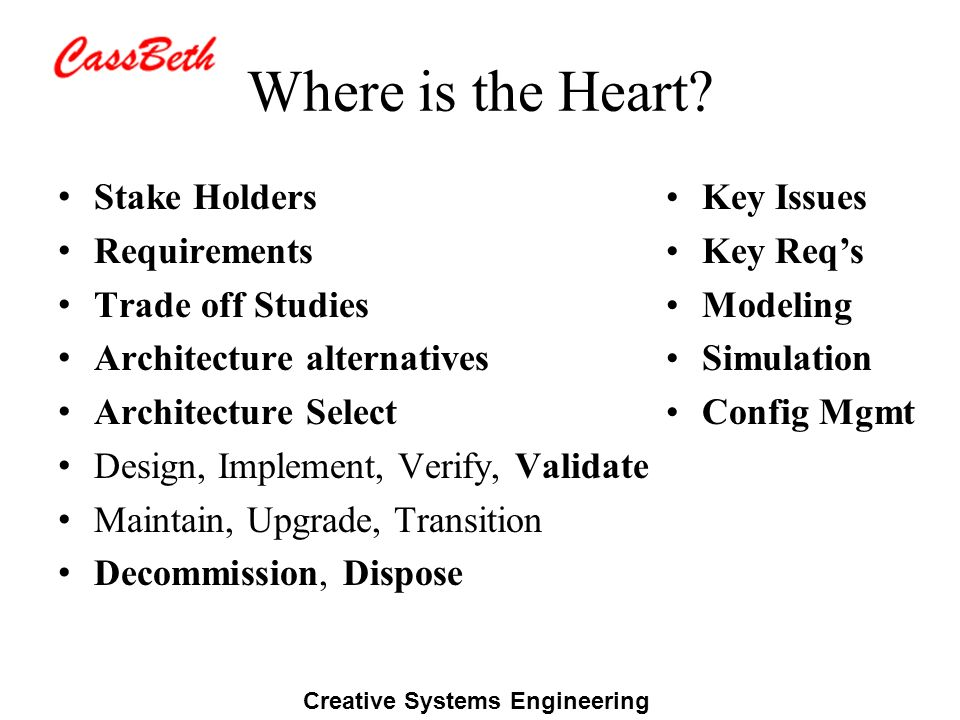 Creative Systems Engineering Where is the Heart? Stake Holders Requirements Trade off Studies Architecture alternatives Architecture Select Design, Im