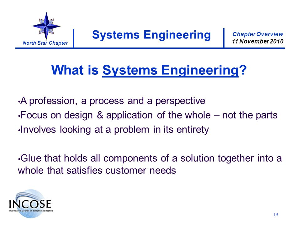 Chapter Overview 11 November 2010 North Star Chapter 19 Systems Engineering What is Systems Engineering.
