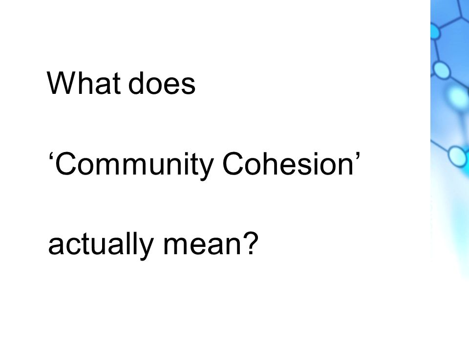 What does Community Cohesion actually mean