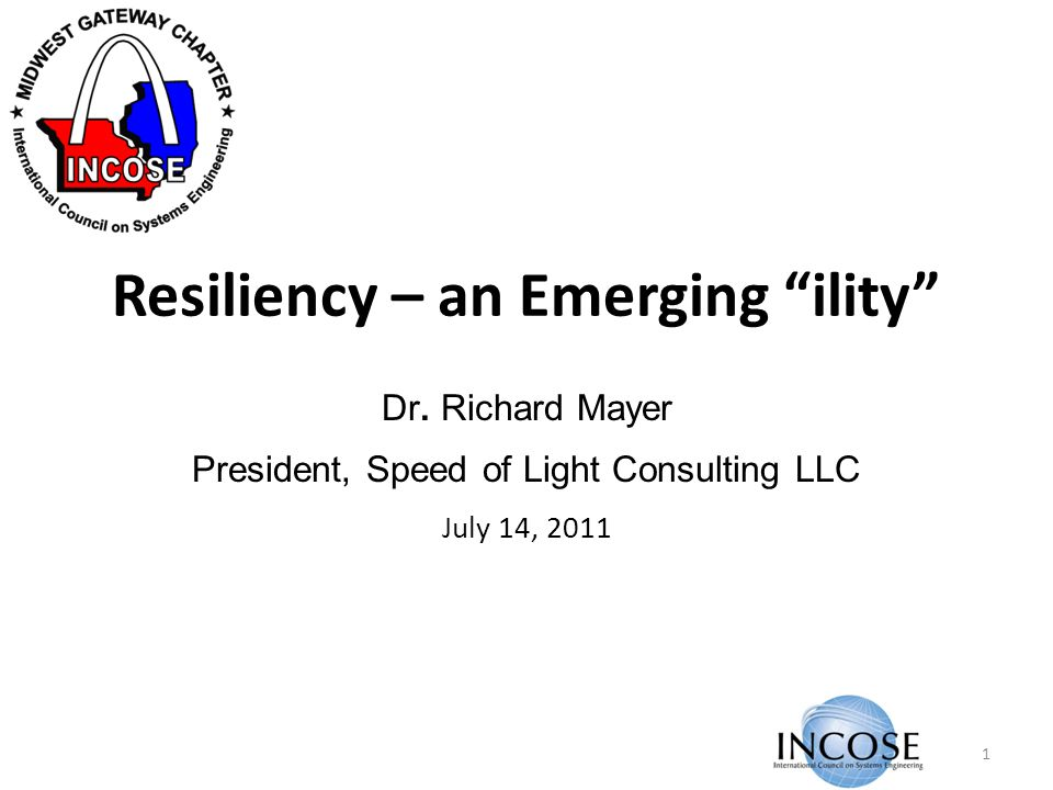 Resiliency – an Emerging ility Dr.