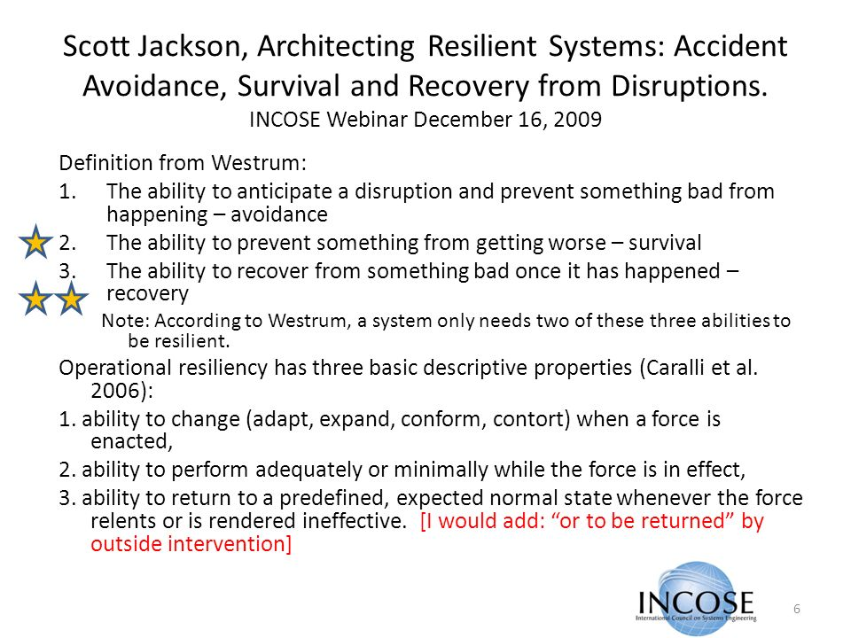 Scott Jackson, Architecting Resilient Systems: Accident Avoidance, Survival and Recovery from Disruptions.