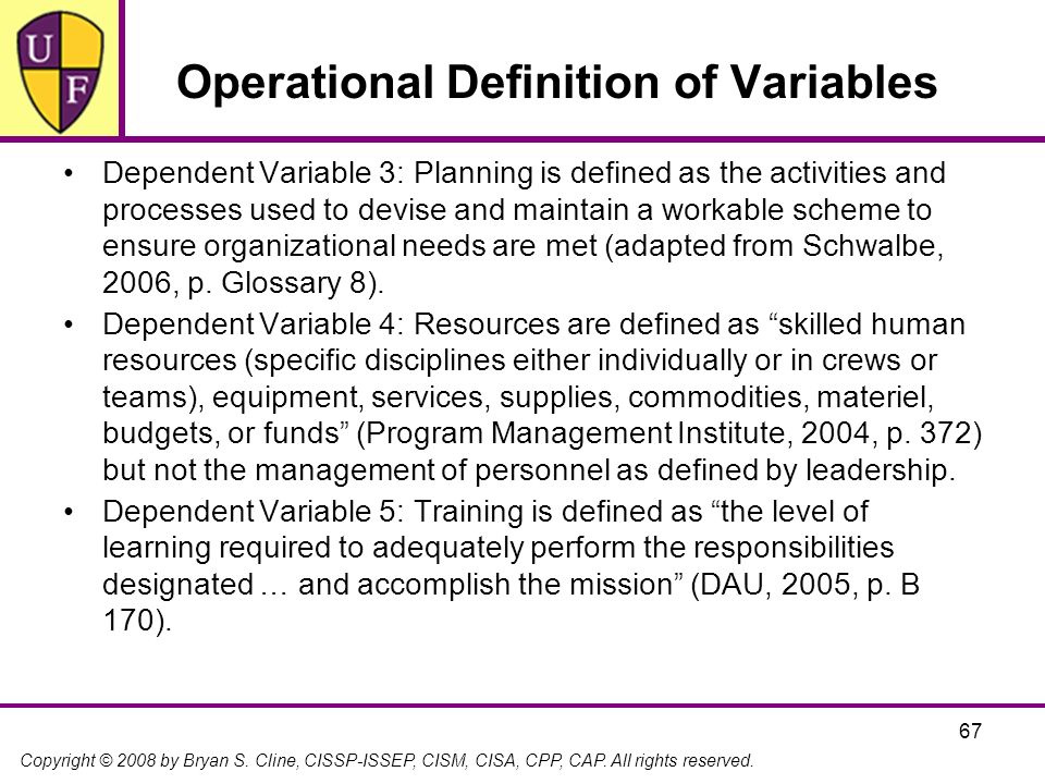Copyright © 2008 by Bryan S. Cline, CISSP-ISSEP, CISM, CISA, CPP, CAP. All rights reserved. 67 Operational Definition of Variables Dependent Variable