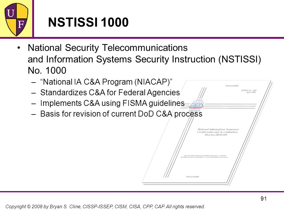 Copyright © 2008 by Bryan S. Cline, CISSP-ISSEP, CISM, CISA, CPP, CAP. All rights reserved. NSTISSI 1000 National Security Telecommunications and Info