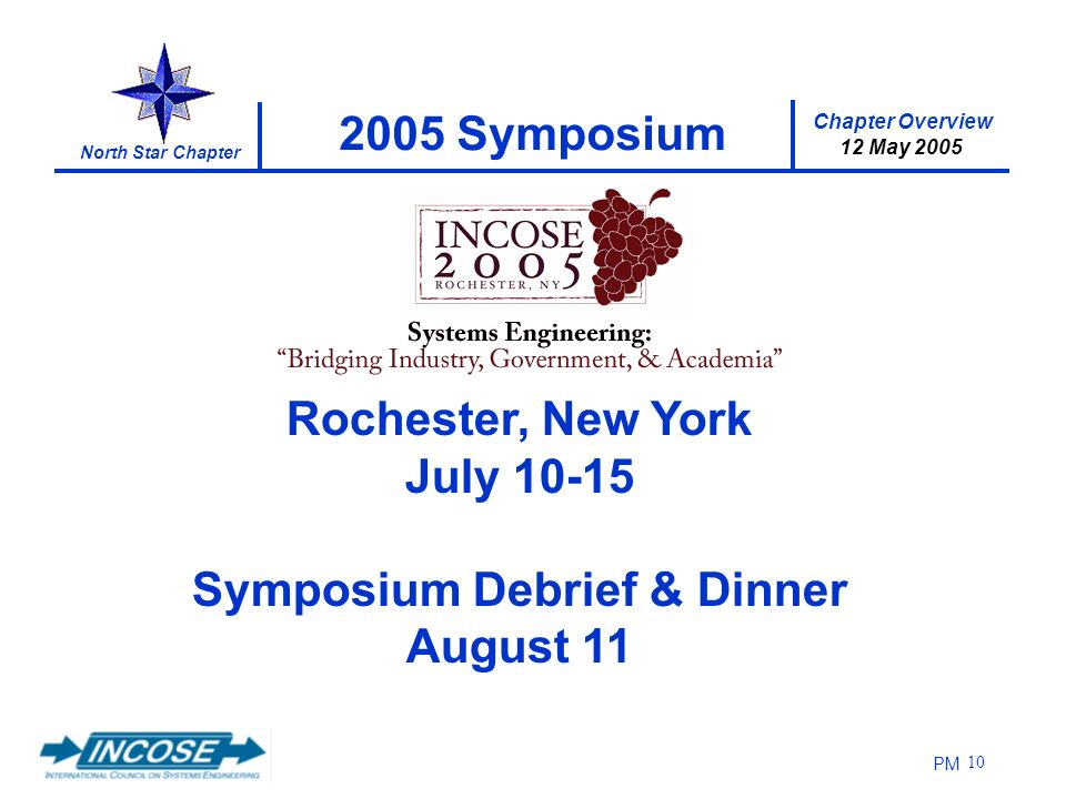 Chapter Overview 12 May 2005 North Star Chapter PM 10 2005 Symposium Rochester, New York July 10-15 Symposium Debrief & Dinner August 11