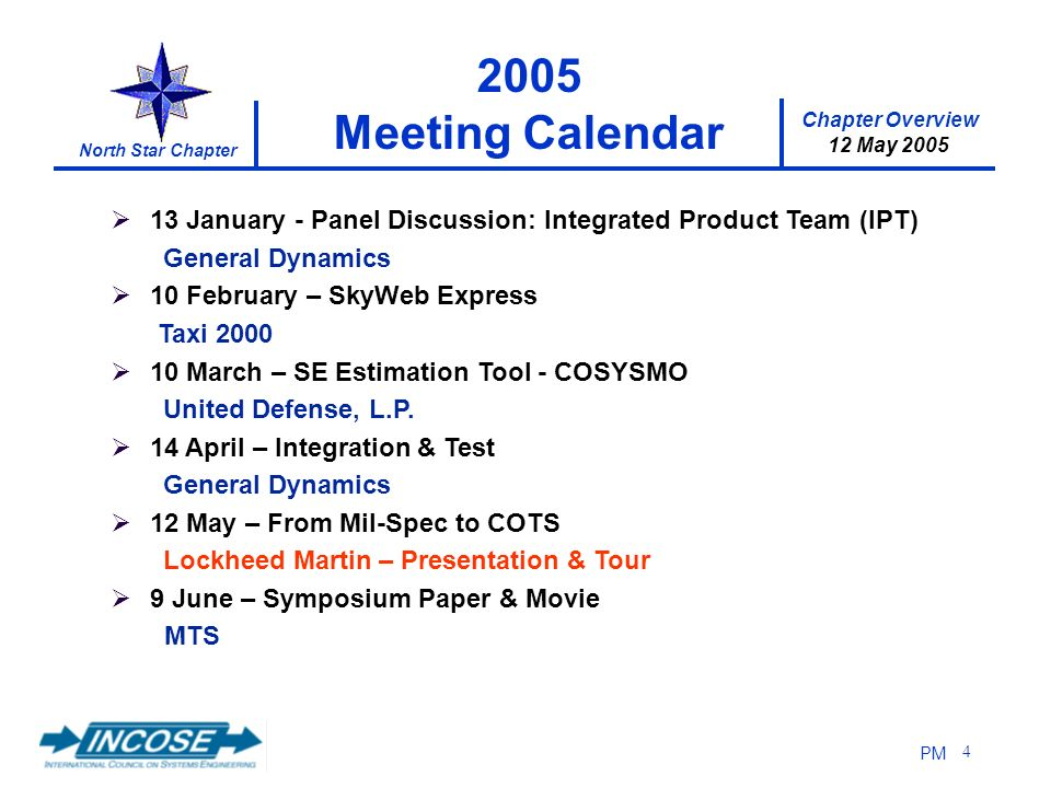 Chapter Overview 12 May 2005 North Star Chapter PM 4 13 January - Panel Discussion: Integrated Product Team (IPT) General Dynamics 10 February – SkyWe