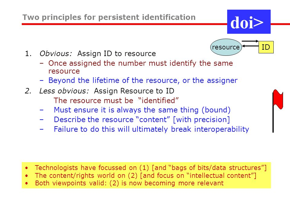 1. Obvious: Assign ID to resource –Once assigned the number must identify the same resource –Beyond the lifetime of the resource, or the assigner Two