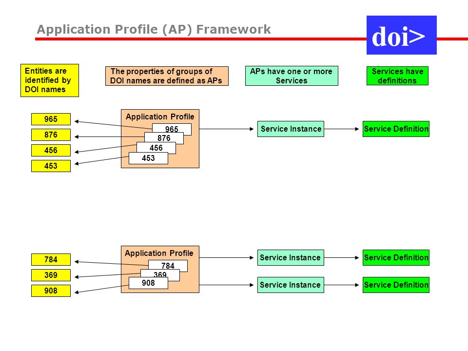 784 369 965 876 456 908 453 Application Profile The properties of groups of DOI names are defined as APs Service Instance APs have one or more Service