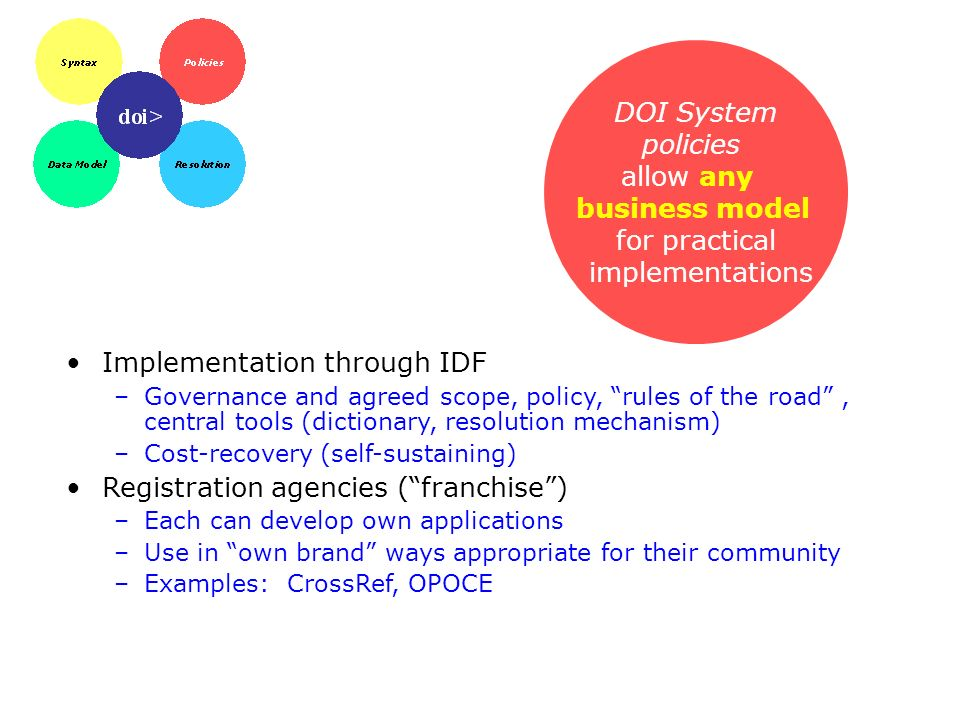 DOI System policies allow any business model for practical implementations Implementation through IDF –Governance and agreed scope, policy, rules of t