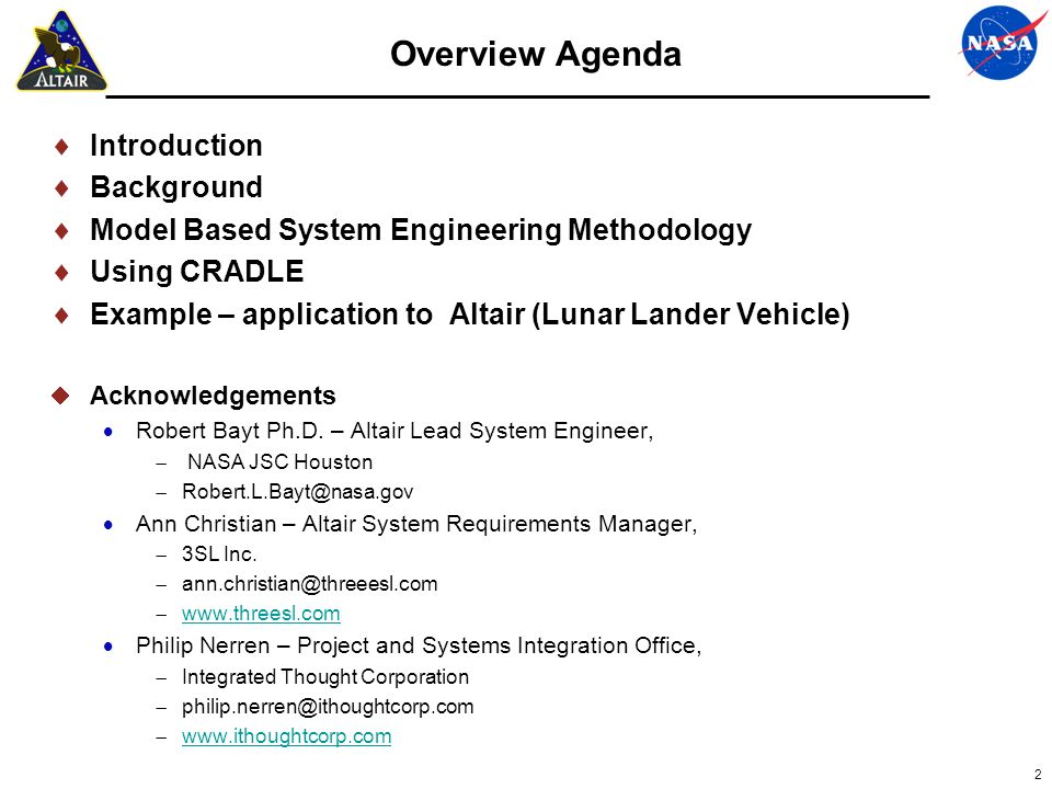 Background Altair (lunar lander) is a key component of the lunar capability for the Constellation Program.
