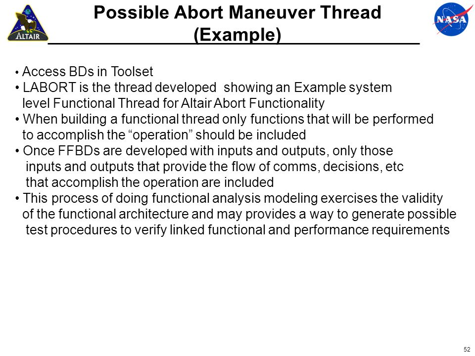 52 Possible Abort Maneuver Thread (Example) Access BDs in Toolset LABORT is the thread developed showing an Example system level Functional Thread for