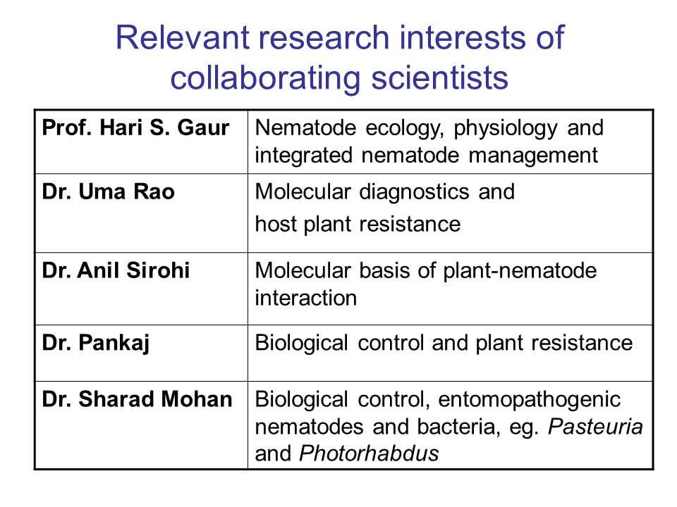 Relevant research interests of collaborating scientists Prof.