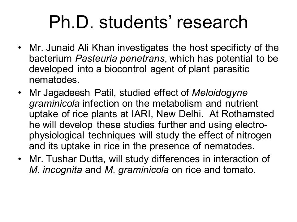 Ph.D. students research Mr.