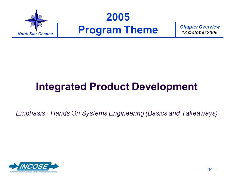 Chapter Overview 13 October 2005 North Star Chapter PM 1 2005 Program Theme Integrated Product Development Emphasis - Hands On Systems Engineering (Basics and Takeaways)