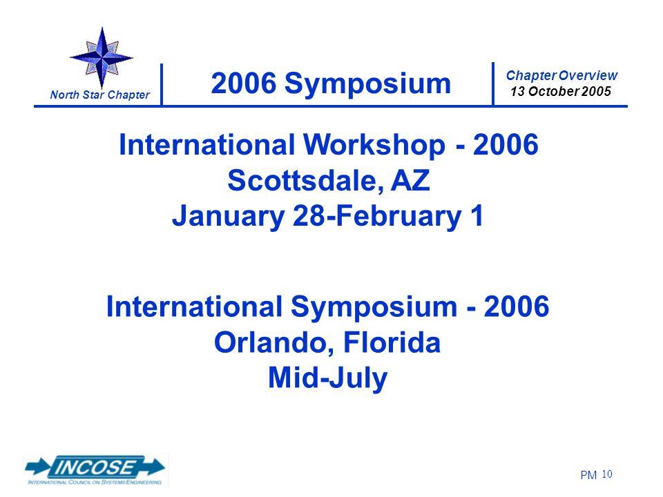 Chapter Overview 13 October 2005 North Star Chapter PM 10 2006 Symposium International Symposium - 2006 Orlando, Florida Mid-July International Worksh