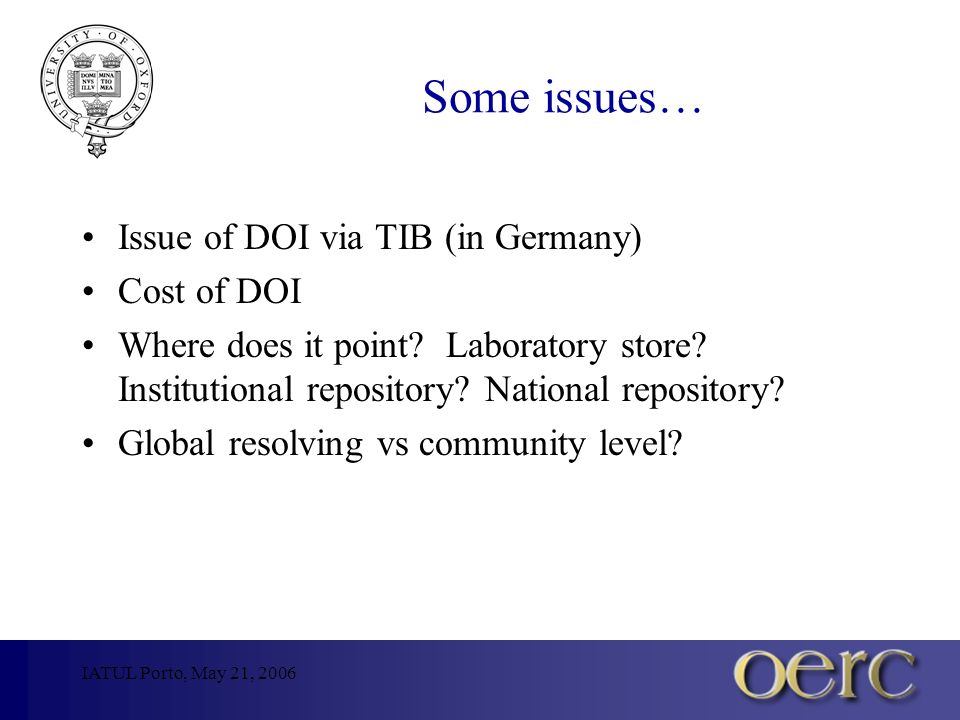 IATUL Porto, May 21, 2006 Some issues… Issue of DOI via TIB (in Germany) Cost of DOI Where does it point.