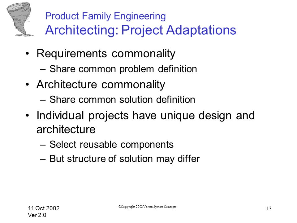 11 Oct 2002 Ver 2.0 ©Copyright 2002 Vortex System Concepts 13 Product Family Engineering Architecting: Project Adaptations Requirements commonality –Share common problem definition Architecture commonality –Share common solution definition Individual projects have unique design and architecture –Select reusable components –But structure of solution may differ