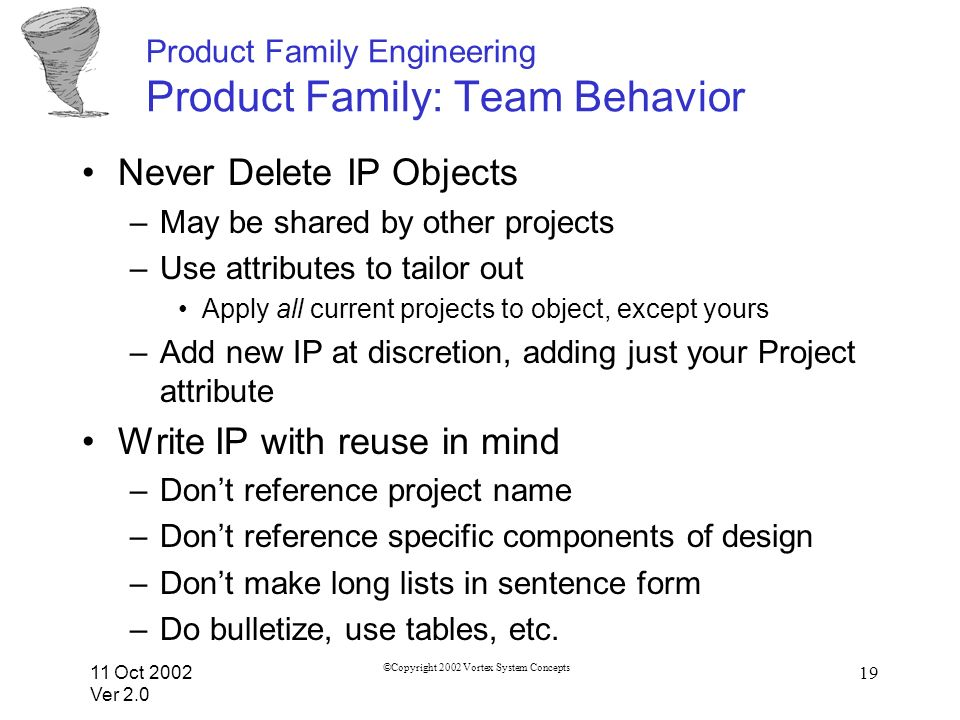11 Oct 2002 Ver 2.0 ©Copyright 2002 Vortex System Concepts 19 Product Family Engineering Product Family: Team Behavior Never Delete IP Objects –May be shared by other projects –Use attributes to tailor out Apply all current projects to object, except yours –Add new IP at discretion, adding just your Project attribute Write IP with reuse in mind –Dont reference project name –Dont reference specific components of design –Dont make long lists in sentence form –Do bulletize, use tables, etc.